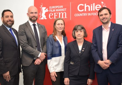from left: Victor Abujatum (First Secretary), Matthijs Wouter Knol (Director EFM), Mariette Rissenbeek (Executive Director Berlin International Film Festival), Cecilia Mackenna (Ambassador of Chile to Germany), Diego Torres (Director ProChile Germany) © Birgit Heidfeld